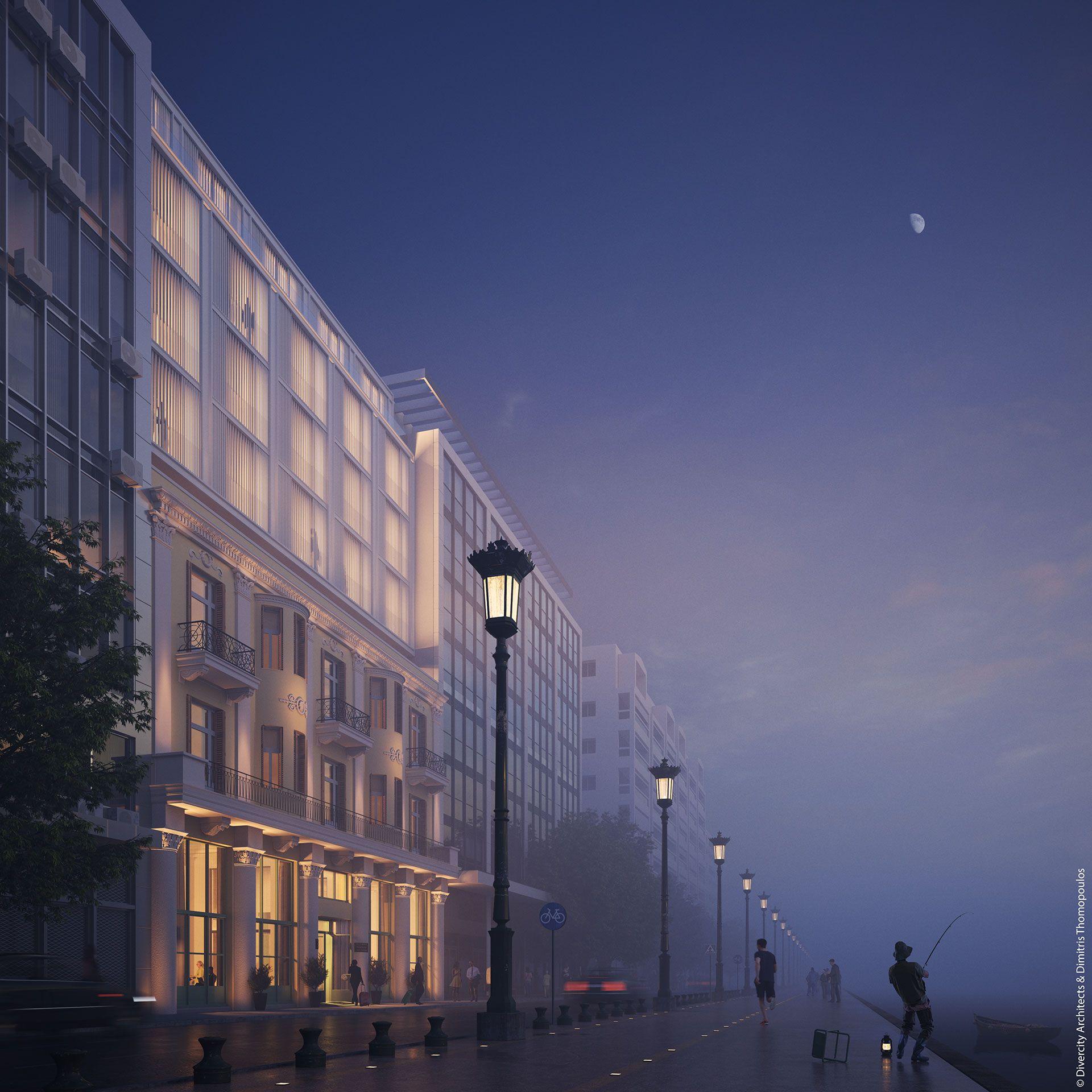 """Το νέο 5άστερο ξενοδοχείο στο ιστορικό κτίριο """"Όλυμπος Νάουσα"""" στη Θεσσαλονίκη - Πηγή: Divercity Architects & Dimitris Thomopoulos"""