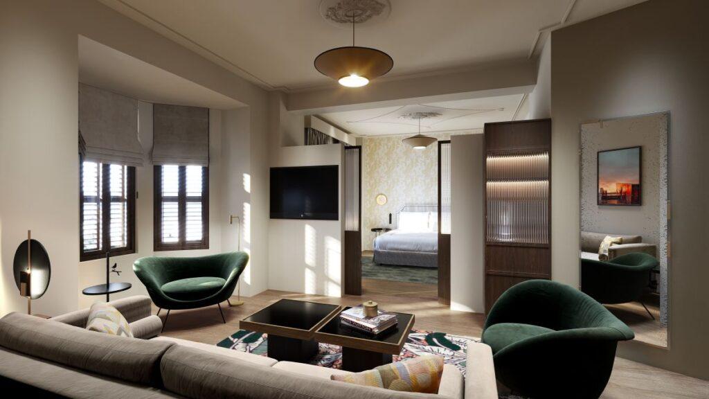 """Το νέο 5άστερο ξενοδοχείο στο ιστορικό κτίριο """"Όλυμπος Νάουσα"""" στη Θεσσαλονίκη - CGI Credits: FRAMED Visualisation"""
